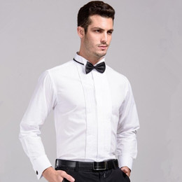 Wholesale-Mens Wedding Shirt With Bowtie 2016 New Long Sleeve Dress Shirts French Cuff Male Red Shirt Free Shipping