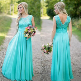 Hot Sale 2016 Jade Lace And Chiffon A-line Country Bridesmaid Dresses Long Cheap Jewel Backless Sequins Floor Length Maid Of Honor EN6182