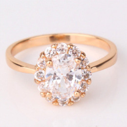 Wholesale 2016 Fashion Large Oval Crystal Finger Ring for Women K Gold Plated Rings Big Cubic Zirconia Wedding Engagement Jewelry R164