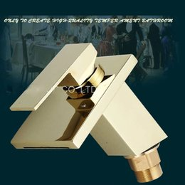 Golden Basin Faucets Brass Square Waterfall Spout Deck Mount Single Handle Bathroom Basin Faucet Vanity Sink Mixer Tap