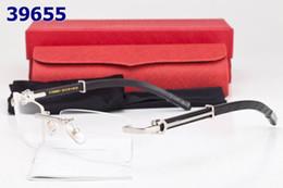 Wholesale Luxury Rimless Optical Glasses Frame For Men Women Clear Buffalo Horn Eyeglasses Wooden Carving Frames Lunettes De Soleil
