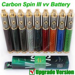 Top Vision Spin 3 vapen Carbon III Carbon Fiber Tube 3.3-4.8V 1650mAh ego Variable Voltage vv battery fit ego vapor mods RDA atomizers DHL