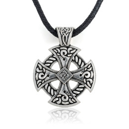 Tibetan Silver Solar Cross Knot Religious Christian Irish Druid Pendant on Leather Necklace