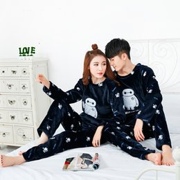 Wholesale Autumn and winter warm pajamas couple big white long sleeved leisure suit home cotton pajamas set
