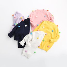Wholesale New Sweet Kids Girls Knitted Dots Candy Color Pullover Sweater Tops Multi Color Fall Winter Cute Baby Tops