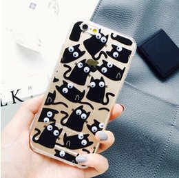 Wholesale 3D Move Eyes Watermelon banana fruit fries Black Cat Silicone TPU Case for iPhone g s s plus Transparent Clear Cover Phone Cases
