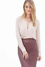 New Fashion Ladies' Elegant Solid Chiffon Women Blouses V-Neck Long Sleeve OL shirts casual Brand Design tops
