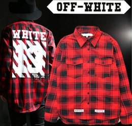 Wholesale-2016 New hip hop fashion pyrex off white 13 virgil abloh long sleeved high quality plaid dress shirt free shipping