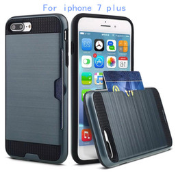 Wholesale For iphone plus For ZTE Prestige N9132 avid plus Armor Hybrid Case Brushed Dual Layered Cover with Credit card card slot