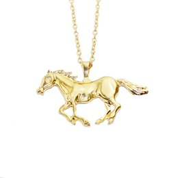 2016 Newest Gold Silver Running Horse Horses Sweater Pendant Necklace 24k Gold Pendants Chains Women Long Neckless Korean Jewelry Wholesale