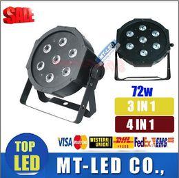 Wholesale 1 unit led stage light x12W w voice control AC110 V LED Flat SlimPar Quad Light in1 LED DJ Wash PAR LightS Uplighting No Noise