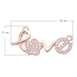 DIY Hair Rope Connector CZ Micro Inlay Pendant Word Love Copper Rose Gold Plated 25x13mm Hole:About 1.2mm 10PCS Lot Free Shipping