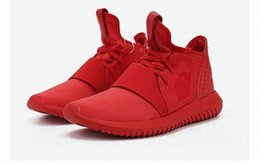 Wholesale Drop Shipping Originals Tubular Defiant W S75245 total red sneakers Womens Mens Sports Running Athletic Sneakers Shoes Size