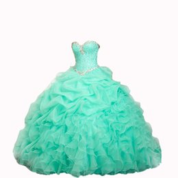Wholesale Sexy Plus Size Special Occasion - 2016 New Stock Arrival Ball Gown Quinceanera Dresses With Organza Beads Crystal Sweet 16 Dresses Prom Party Gown Stock Size:2-16