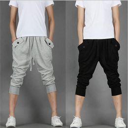 2016 summer fashion new Men Harem Pants Men 3 4 Knee Casual Jogger Sport Shorts Cotton Blend Loose Casual Sweatpants