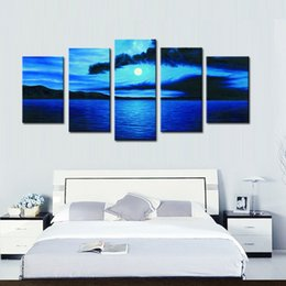 Professional Canvas Paintings 5 Panel Blue Color Sky and Sea Landscape Beautiful Seascape for Office