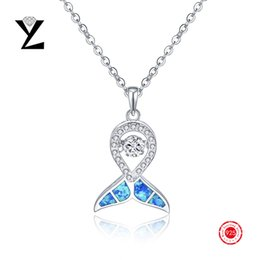 New Fashion 925 Sterling Silver Blue Fire Opal Jewelry Pendant with Cubic Zircon Dancing CZ Diamond Pendant for Women Wholesale Jewelry