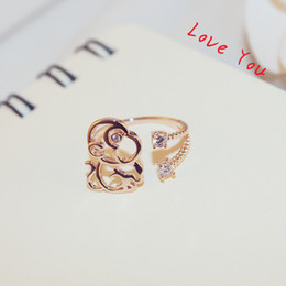 Animal Monkey Ring for Women   girl Fashion Cubic Zirconia Charms Ring Rose Gold Plated Adjustable Open Ring Wedding Party Costume Jewelry B