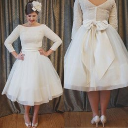 Gorgeous Plus Size Vintage Dress A Line Lace Top Prom Dresses Tea Length Evening Party Gowns with Bow Sash Custom Made Cheap