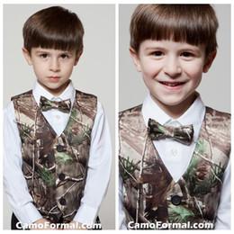 Wholesale Custom New Cute Camo Boy s Formal Wear Camouflage Real Tree Satin Vest Cheap Sale Only Vest For Wedding Kids Boy Formal Wear