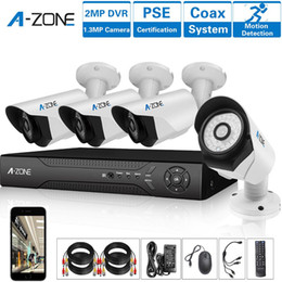 Wholesale Surveillance Cameras Indoor Bullet - A-ZONE 4 Channel 1080P AHD Home Security Cameras System DVR kit W  4x HD 960P 1.3MP waterproof Night vision Indoor Outdoor CCTV surveillance