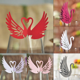 100pcs Laser Cut Swan Style Table Mark Escort Wine Glass Name Place Cards for Wedding Party Decoration Products Favor Supplies Free Shipping