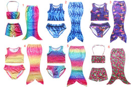 Girls Kids Mermaid Swimsuits 3PCS Set Mermaid Bikini Sets Girls Beach Mermaid Swimwear Swimming Costumes 7Colors good quality DHL C634
