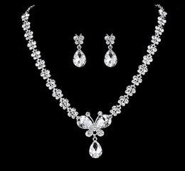 Bridal Wedding Necklace Earring Jewlry White Crystal Butterfly Rhinestone Necklace Earring Jewelry Set Hot Sale