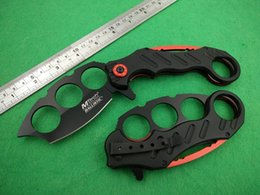 Wholesale Mtech Ballistic Karambit Knuckle Spring Assisted Folding Knife Black Red