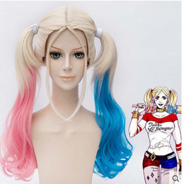Wholesale New Cosplay Wig Batman Clown Curly Heat Resistant Synthetic Hair Ombre Wig Movie Suicide Squad Harleen Quinzel Harley Quinn