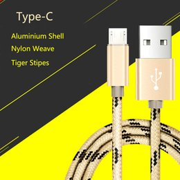Wholesale Aluminium weaved tiger strip USB C USB Type C Connector to A Male Sync Data Charge Cable for Macbook quot