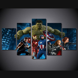 Free Shipping 5pcs With Framed HD Printed The superhero movie Group Painting on canvas room decoration print poster picture canvas framed
