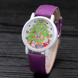 Nueva Llegada Árbol de Navidad Decoración Mujer Hombre Cuero de LA PU Relojes Relojes de pulsera de los niños de dibujos animados lindo Regalo de cumpleaños de los niños