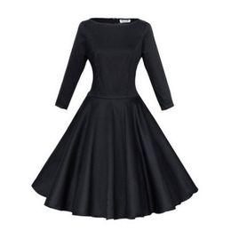 Women Lady A-Line Crewneck Long Sleeve Fashion Pleated Sundress Dress Black Red Dark Blue S M L XL