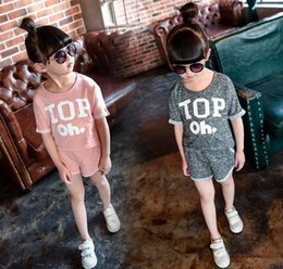 2016 summer models for boys and girls girls letters printed T-shirt + shorts two-piece track suit explosion models 100--140