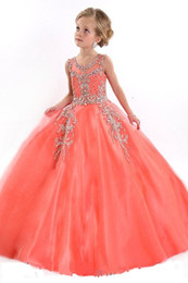 New 2016 Little Girls Pageant Dresses Princess Tulle Sheer Jewel Crystal Beading White Coral Kids Flower Girls Dress Birthday gowns DL751