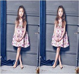 2016 girls pink floral dresses kids floral clothes children summer short sleeve clothing high quality princess dress size 100-150cm