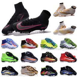 Wholesale New OrigINal mens ACC MaGIsta Soccer shoes High Ankle football Boots HERITAGE SuPERfly IV V CR FG MerCURial CR7 cleats shoes HypeRVEnom
