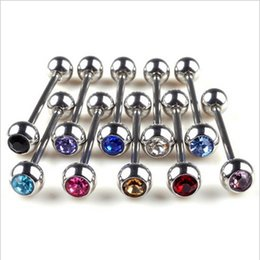 Wholesale 50 PC g Surgical Steel Barbell Tongue Rings With Gem Ball Body Piercing Jewelry Mixed Crystals Ball Tongue Bars Rings B8003