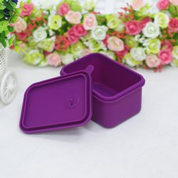 Wholesale 2016 new High Quanlity Silicane Anti hot lovely eco friendly cuboid purple lunch boxs for Microwave heating hot selling
