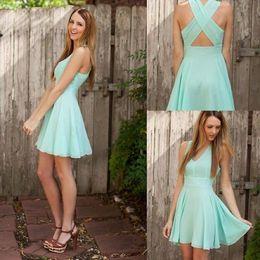Homecoming Dresses 2019 Free Shipping Mint Green Charming Chiffon V-neck Cross Back Short Cheap Homecoming Dress
