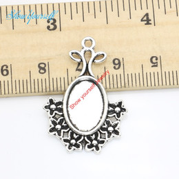 Wholesale 15pcs Antique Silver Plated Flower Oval Photo Frame Charms Pendants for Necklace Jewelry Making DIY Handmade Craft x23mm