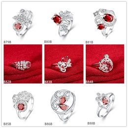 Mixed style burst models fashion red gemstone 925 silver plate ring EMGR6,Serpentine dragonfly plated sterling silver ring 10 pieces a lot