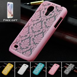 Wholesale-For S4 mini Retro Damask Pattern Engraved Matte Case Cover For Samsung Galaxy S4 mini i9192 with Gift protective film