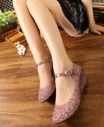 Wholesale Summer breathable crystal bling plastic jelly shoes cut out wedge heel bird nest mesh female wedge sandals