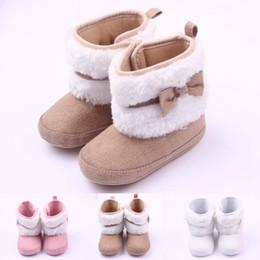 Niñas de arranque blanco en venta-El bebé caliente del invierno de la venta patea los mediados de-Botas 3 de las muchachas del caminante de Microsuede de la piel blanca del Bowknot lindo