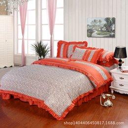 Wholesale Comforter Wedding Twill - Wedding Four-piece Kit Textile Bedding Set Four set bedding new Korean   princess cotton denim twill cotton bow   rural home