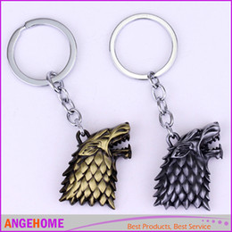 Wholesale Game of thrones House Stark Keychain A Song of Ice and Fire Metal Key Rings For Gift Chaveiro