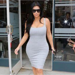 Promotion robes moulantes kardashian Sexy Robe d'été Backless 2016 Mode Femmes Night Club Robes de soirée Kim Kardashian Retour Slit Sleeveless Bodyon Bandage Robe