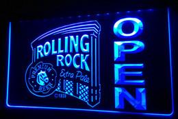 LS438-b Rolling Rock OPEN Bar Neon Light Sign